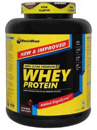 MuscleBlaze 100% Whey Protein,4.4-lb double-rich-chocolate ,Shaker Free!