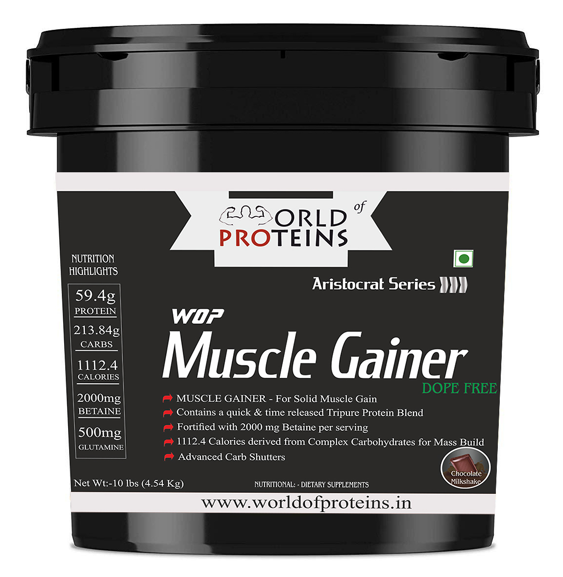 WOP Muscle Gainer,10-lb double-rich-chocolate ,Gym Bag Free!