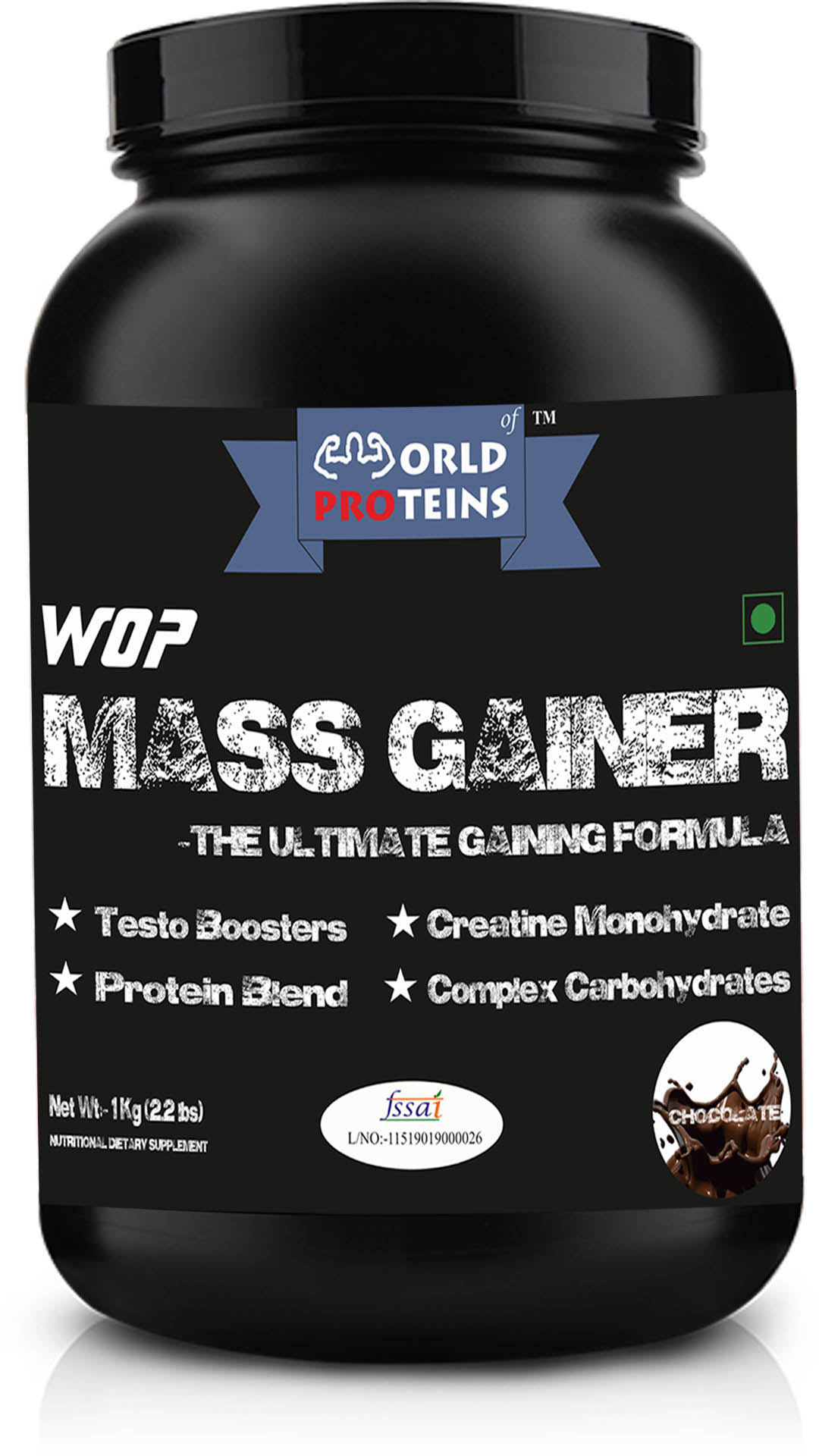 WOP Mass Gainer,1-kg chocolate